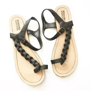 Mossimo Brown Braided Faux Leather Flip Flops