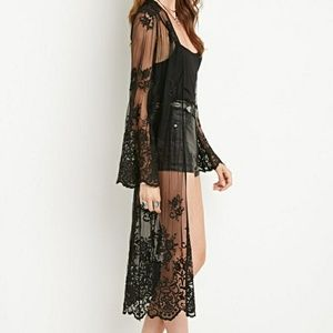 Forever21 embriodered lace bell sleeve duster