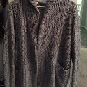 Gray Sweater Cardigan Hoodie