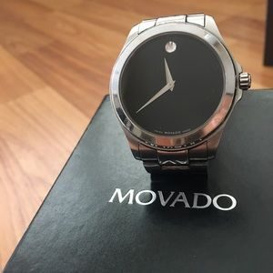 Men's Movado classic, silver watch.