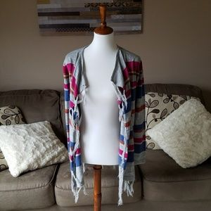 Charming Charlie Striped Blanket Cardigan