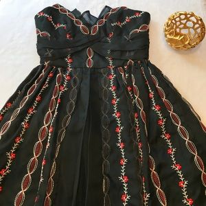 Anna Sui Black + Red Embroidered Silk Dress Size 8