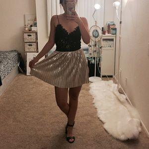 Cute mini golden skirt