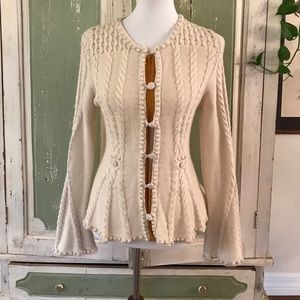Laureate Lane cream cable knit Anthropologie