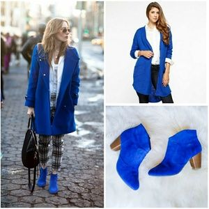 CHINESE LAUNDRY Trendy Royal Blue Suede Booties