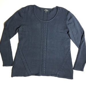 Stitch Fix Navy Gray Cable Knit Scoop Neck Sweater