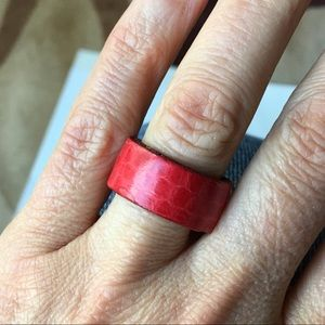 Jewelry - Red Leather wide Cuff Ring