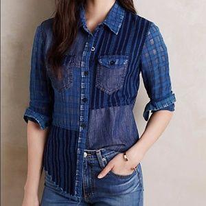 Artisan de Luxe Patchwork Plaid Button Down Shirt