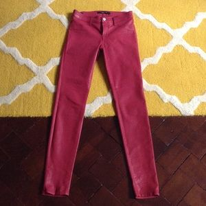 J Brand Coated Red Skinny Jean - barely worn!