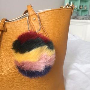 Handbags - Multi-Colored Purse Pom Pom Charm