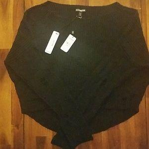 NWT Express black distressed hi low sweater
