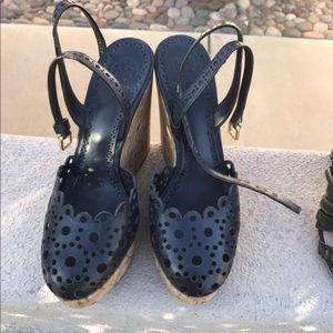 Tory Burch gold laser cut wedge sandal