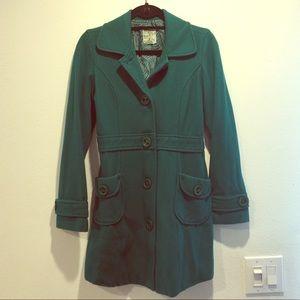 Teal  color long winter coat