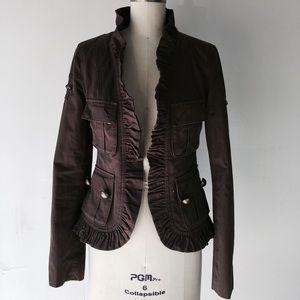 Mackage military ruffle blazer jacket xs