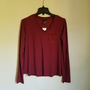 Long Sleeve Burgundy Floral Lace V-Neck Top