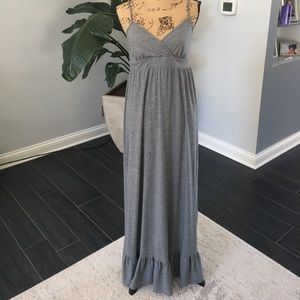 Grey long dress with spaghetti straps