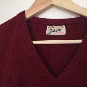 Vintage Burgundy V Neck 100% Cashmere Sweater M
