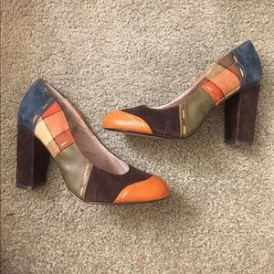 Anthropologie Pink studio patchwork heels