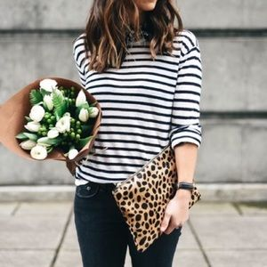 🆕 CLARE VIVIER Leopard Calf Hair Zip Clutch
