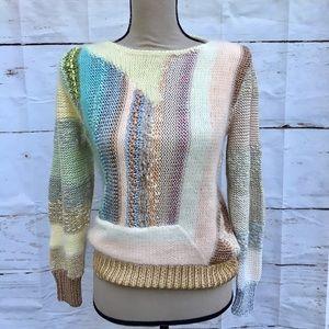 80s Pastel Rainbow Angora Rabbit Fantasy Sweater