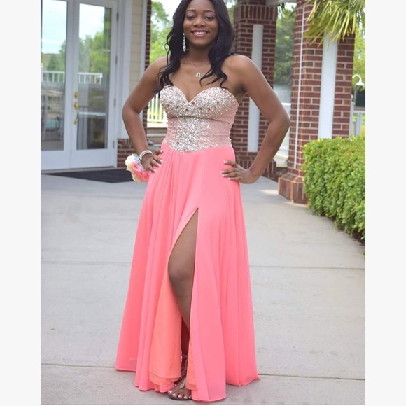 Dresses | Strapless Salmon Pink Glitter Prom Dress With Slit | Poshmark
