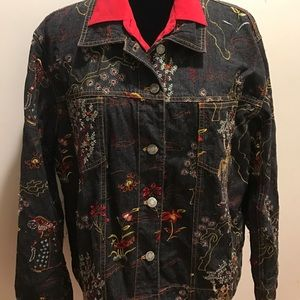 Chico's embroidered jean jacket Chico's size 3