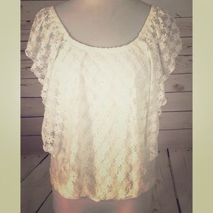 American Rag Lace Overlay crop top