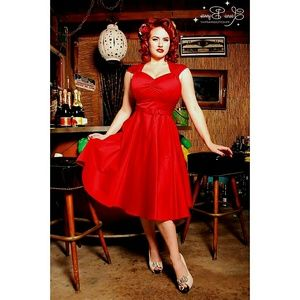 Pin up Couture vibrant red heidi dress - nwot