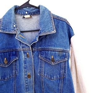 Vintage Jean Jacket with Sweatshirt Sleeves