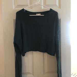 Green Silence and Noise Crop Sweater
