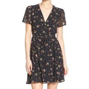 WAYF Black Floral Wrap Dress