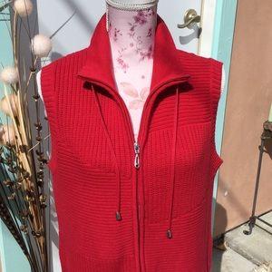 Christopher & Banks cotton zip sweater vest turtle