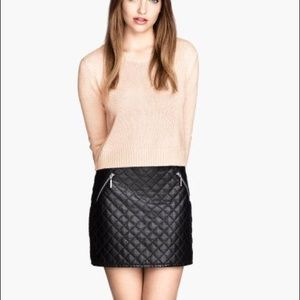 H&M Quilted Pleather Skirt (fully lined)