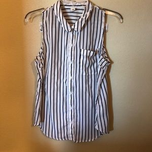 Old navy white navy button down sleeveless blouse