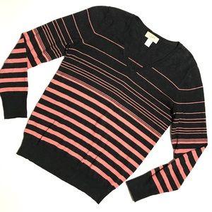 LOFT Gray Coral Gradient Stripe V Neck Sweater S