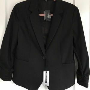 Express NWT short black blazer. Ruched sleeves