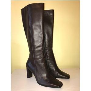 Karen Scott Chocolate Leather Knee High Boots