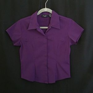 Deep Purple Short Sleeved Button Down