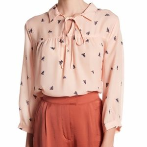 Pink Print Woven Blouse sz M