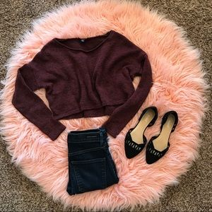 American Eagle cropped maroon speckled sweater