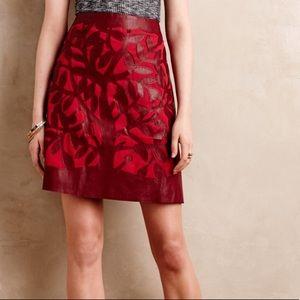NWOT Anthropologie Floreat Red Vegan Leather Skirt