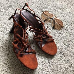 Bottega Veneta brown suede strap sandals heels 41