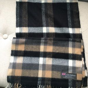 Accessories - Brown, black, and white plaid Cashmere scarf
