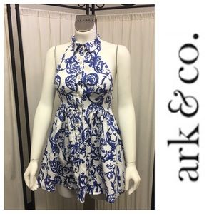 Blue & White Mini Open Back Dress By Ark & Co.