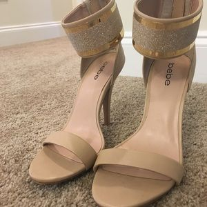 Beautiful Bebe nude and sparkly gold heels.