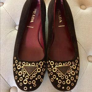 Authentic Prada Suede Leather Ballet Flats 6 36