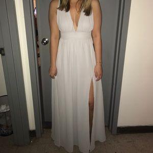 A beautiful light grey dress from Lulus!