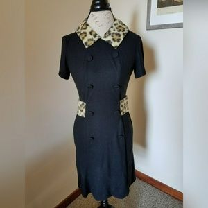 Vintage 1960s leopard trim dress