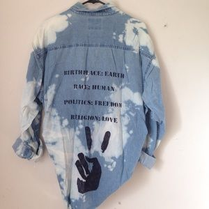 Upcycled Bleach Grunge Hippie Button Chambray top