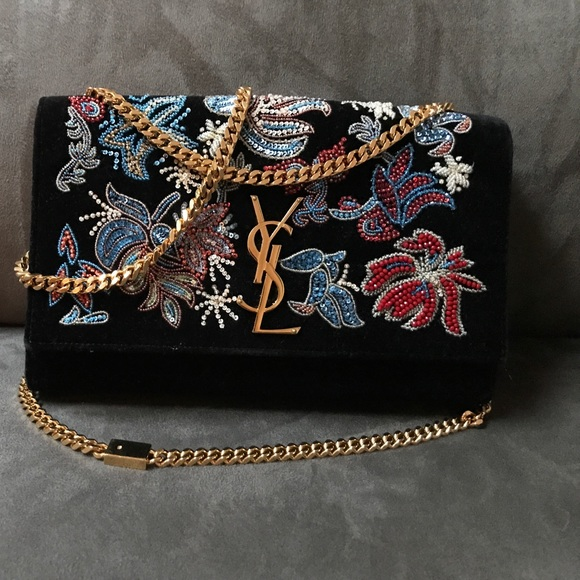 02d7df9631b Saint Laurent Bags | Sold Limited Edition Black Ysl Beaded Clutch ...
